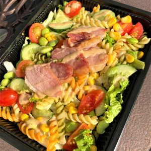 Smoked Duck Fusilli Pasta Salad with Japanese sesame dressing